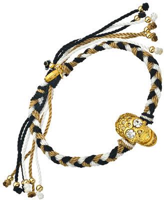 Blee Inara Swarovski Skull Black White and Tan Macrame Friendship Bracelet
