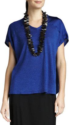 Eileen Fisher V-Neck Linen-Silk Jersey Boxy Top