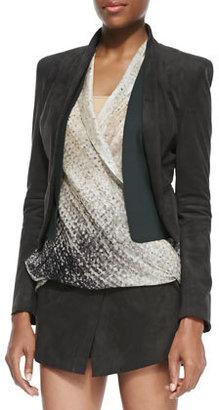 Halston Ultrasuede Shawl-Collar Open Jacket