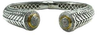 Lord & Taylor Sterling Silver & 14 Kt. Gold Diamond-Pavé Bangle