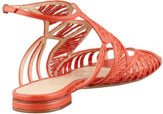 Alexandre Birman Strappy Snakeskin Sandal, Coral