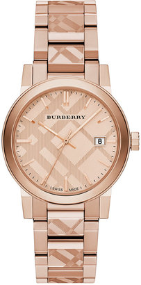 Burberry Unisex Swiss Rose Gold Ion-Plated Stainless Steel Bracelet Watch 38mm BU9039 $795 thestylecure.com