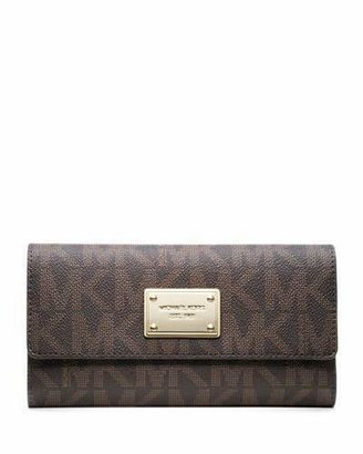 MICHAEL Michael Kors Jet Set Logo Checkbook Wallet, Brown $158 thestylecure.com