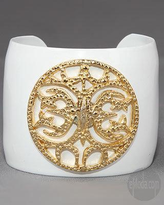 CC Skye Medallion Enamel Cuff in White