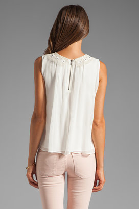 Alice + Olivia Chae Gathered Embroidered Neck Tank