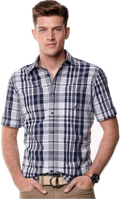 Nautica Shirt, Short Sleeve Illusion Plaid Shirt
