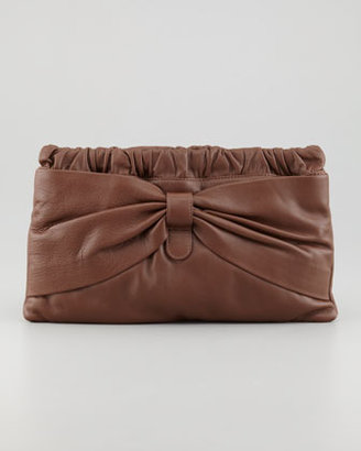 RED Valentino Valentino Red Leather Bow Clutch Bag, Brown