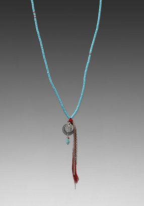 Chan Luu Sequin Charm Tassel Necklace