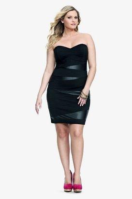 Black Faux Leather Splice Strapless Dress