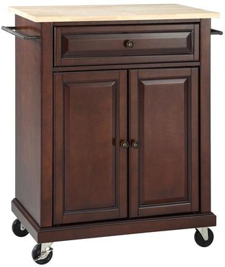 Crosley 28-1/4 in. W Natural Wood Top Mobile Kitchen Island Cart in Mahogany