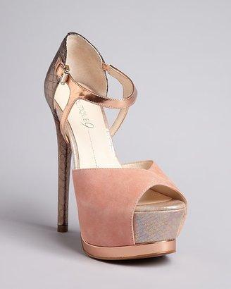Boutique 9 Ankle Strap Colorblock Peep Toe Platform Pumps - Nerissa