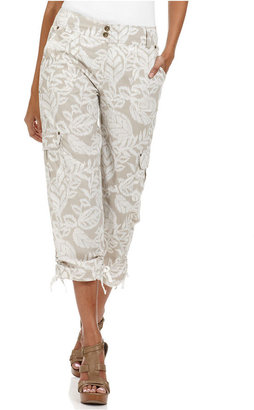 Style&Co. Pants, Printed Ruched Cargo Capri