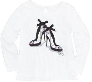 Milly Minis Stiletto-Print Long-Sleeve Tee, Sizes 8-10