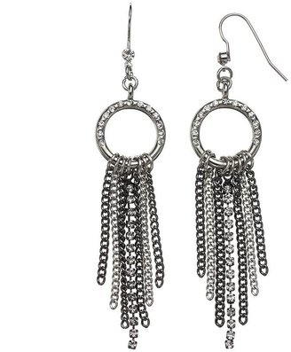 Vera Wang Simply vera fringe hoop drop earrings