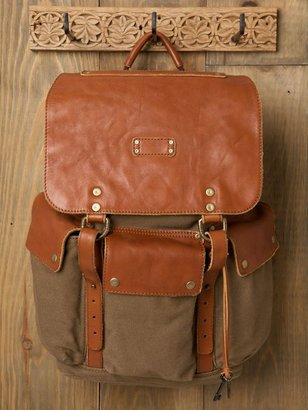 Free People Leather and Canvas Backpack