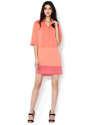 Steven Alan 3/4 Sleeve Color Block Shirtdress
