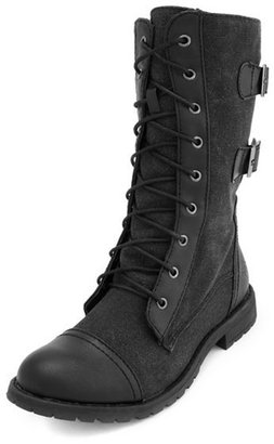 Charlotte Russe Lace-Up Double-Buckle Combat Boot