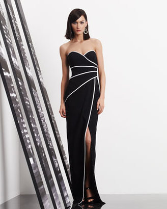 David Meister Strapless Piped Sweetheart Gown