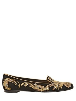 Alexander McQueen Pearl Embroidered Suede Loafers