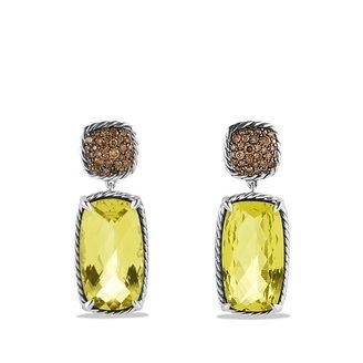 David Yurman Chatelaine Drop Earrings with Lemon Citrine and Cognac Diamonds