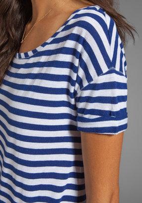 Juicy Couture Stripe Malibu Tee in Dark Cobalt/White