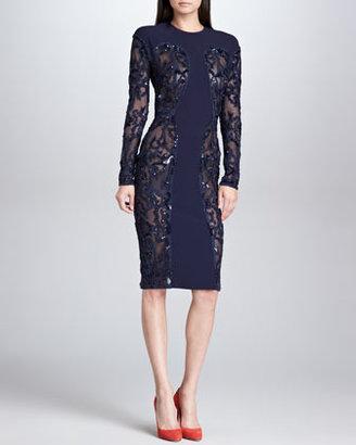 Elie Saab Sequined Sheer-Panel Dress, Navy