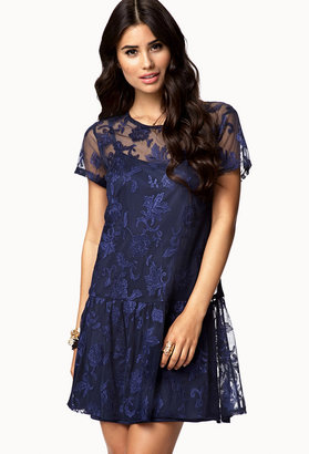 Forever 21 Botanical Mesh Lace Dress