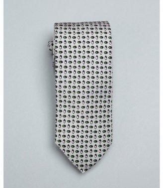 Prada silver and green geometric print silk tie