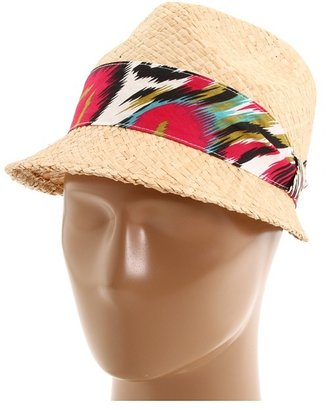 San Diego Hat Company EBH9802 Color Headband Straw Fedora (Natural) - Hats