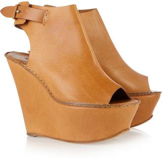 Chloé Peep-toe leather wedge sandals