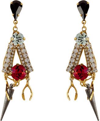 Erickson Beamon Gold-Plated Tribal Charm Earrings