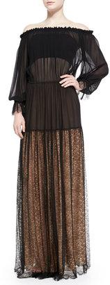 Michael Kors Sheer Off-The-Shoulder Dress