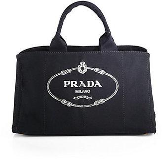 Prada Logo Printed Large Canvas Tote