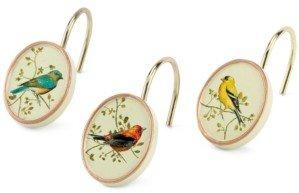 Avanti Bath Accessories, Gilded Birds Shower Hooks, Set of 12 Bedding