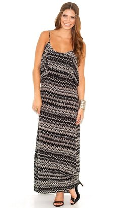 Olivaceous Silk Tribal Maxi Dress in Black and Ivory