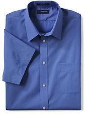 Lands' End Men's Regular Short Sleeve Straight Collar Broadcloth Shirt-Vibrant Blue Stripe
