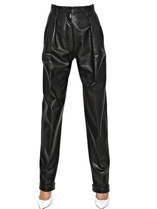 Balmain Wide Leather High Waisted Trousers