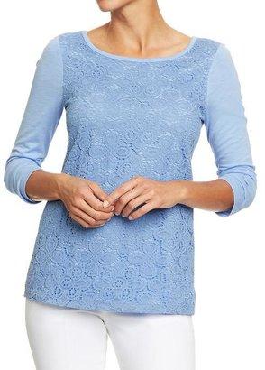 Old Navy Women's Crochet-Lace Trim Tees