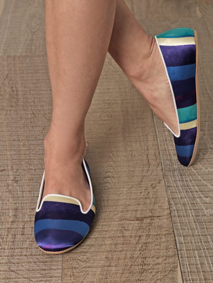 Charles Philip Shanghai Sheila wide stripe slippers