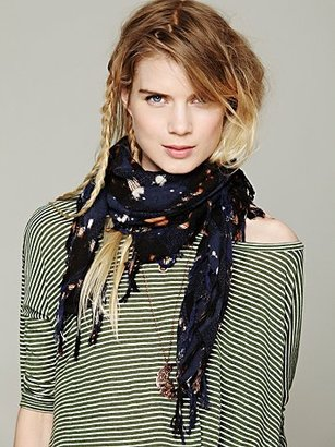Free People Bleach Washed Plaid Scarf