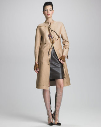 Chado Ralph Rucci Paneled Leather Skirt