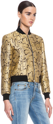 Stella McCartney Python Print Poly-Blend Bomber in Chamomile