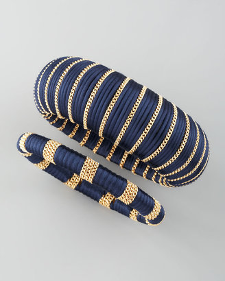 Cara Accessories Two-Piece Wrapped Bangles, Navy