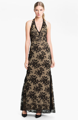 Jessica McClintock V-Neck Lace Halter Gown