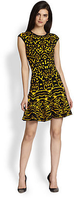 Torn By Ronny Kobo Malu Animal-Patterned Wool & Cashmere-Blend Sweater Dress