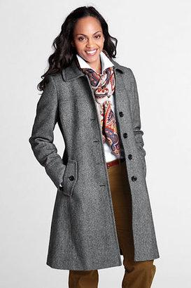 Lands' End Women's Regular Pattern Wool Swing Car Coat