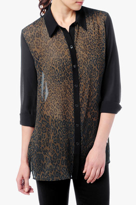 7 For All Mankind Print Chiffon Blouse In Cheetah