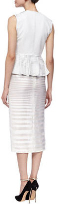 J. Mendel Sheer-Stripe Pencil Skirt