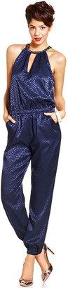 Monroe Marilyn Juniors Jumpsuit, Sleeveless Printed Harem