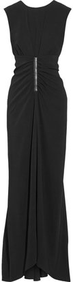 Reed Krakoff Leather-Trimmed Stretch-Crepe Gown